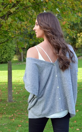 Grey 100% cashmere V neck jumper oversized tops by Mimi & Thomas® cashmere & leather