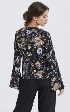 Floral Frill Bell Sleeve Blouse by Madam Rage