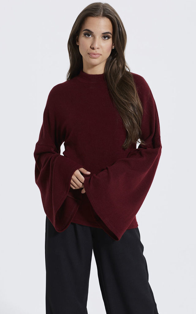 Turtle Neck Jumper With Bell Sleeves In Burgundy by Madam Rage