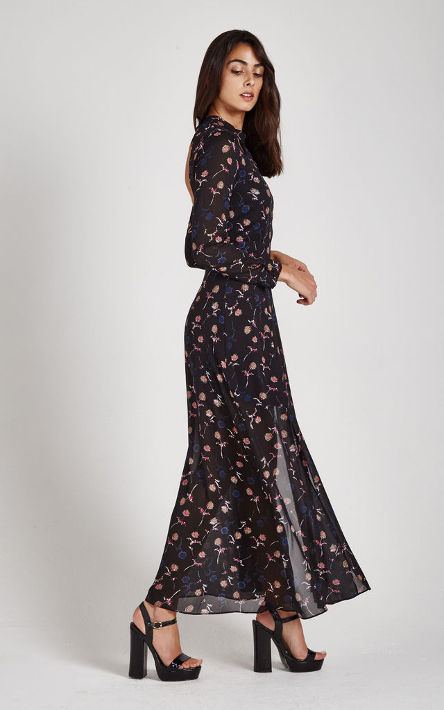 Black Flower Print Maxi Dress by Liquorish