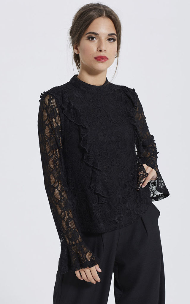 Black Lace Ruffle blouse by Madam Rage