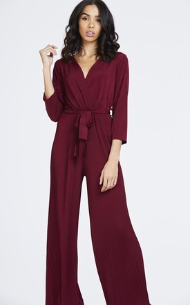 Flared Leg Wine Pleated Jumpsuit by House Of Queens