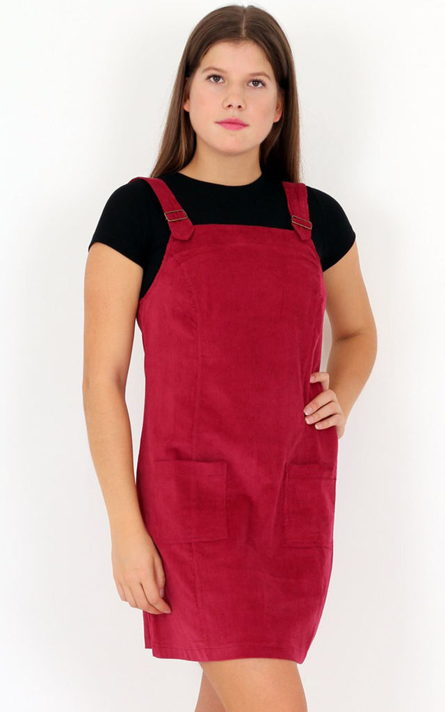 Wine Square Neck Corduroy Pinafore Side Pockets Mini Dress by MISSTRUTH