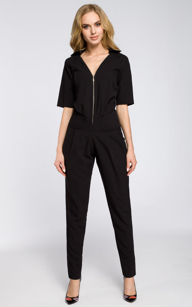 Black deep neck with a front zip fastening and elasticised waist at the back by MOE