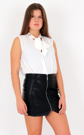 Black Faux Leather Zip Front Mini Pencil Skirt by MISSTRUTH