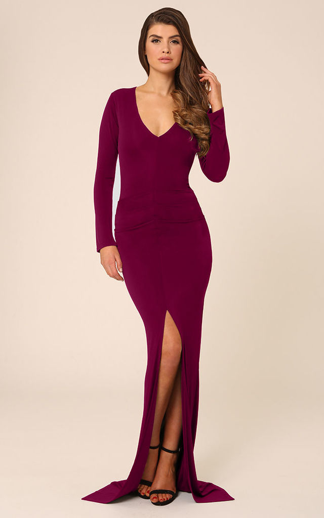 Jessica Berry Bodycon Maxi Dress With Front Split by Honor Gold