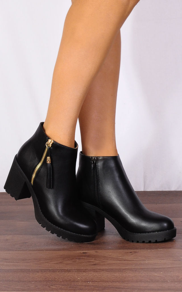 Black Pu Leather Tassels Ankle Boots by Shoe Closet