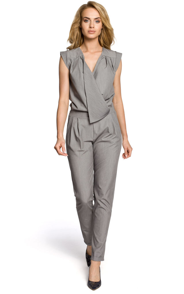 Grey sleeveless, draped jumpsuit with a wrap and side pockets by MOE