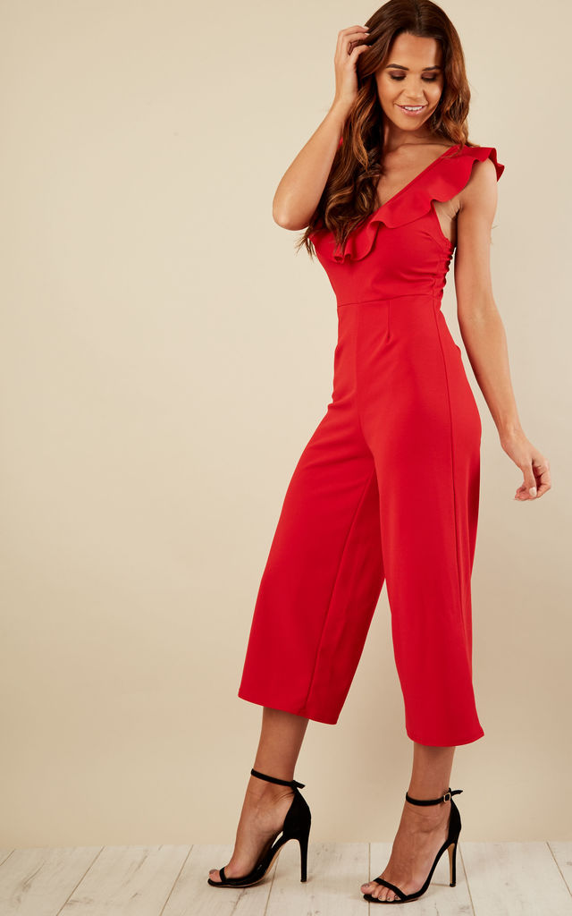 Red Culotte Frill Jumpsuit by Lilah Rose
