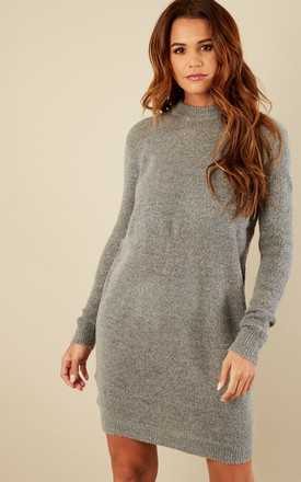 Medium Grey Melange Long Sleeve Round Neck Jumper Dress by Pieces Product photo