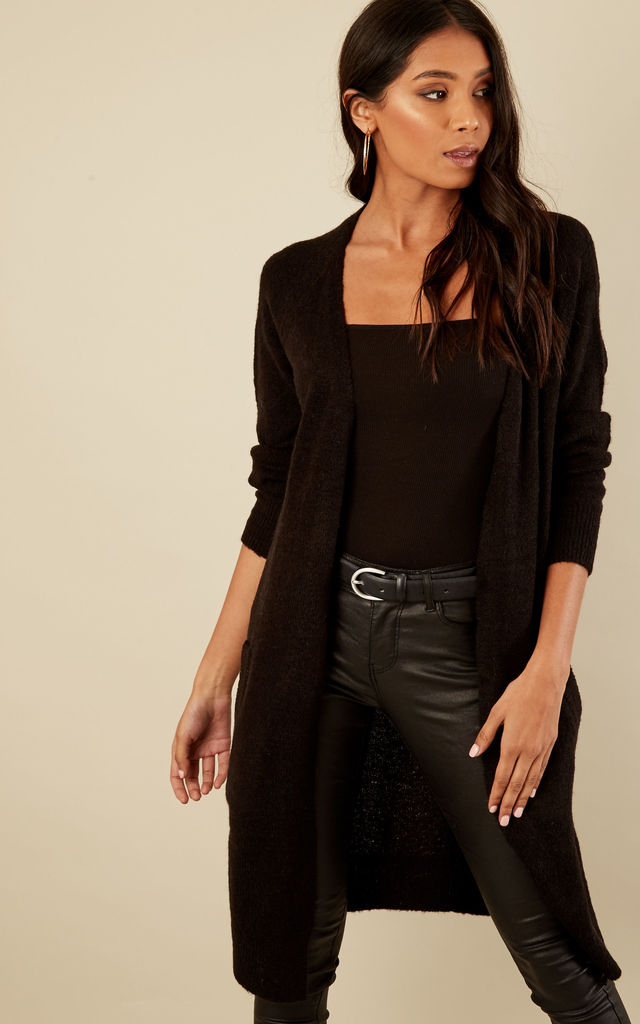 Black Long sleeve two pockets knit cardigan by Pieces