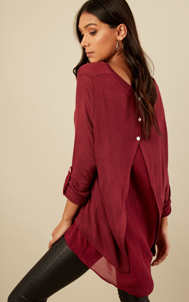 Wine Button Detailed Split Back Scarf Top by Lilah Rose