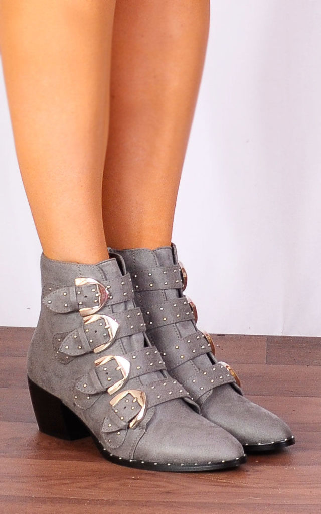 Grey Faux Suede Western Buckle Pointed Low Heel Ankle Boots by Shoe Closet