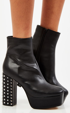 Black PU Platform Spiked Heel Boot by Truffle Collection