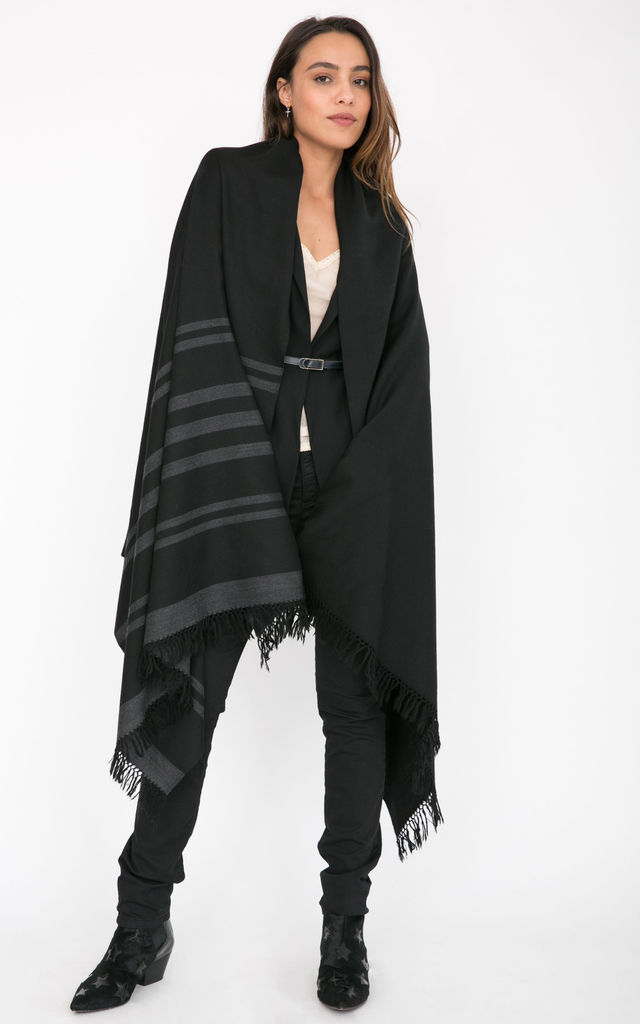 Twill Handwoven Merino Shawl and Oversize Scarf with Stripes 100 X 200cm Black by likemary