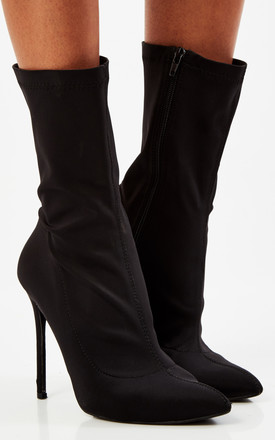 Black Lycra Suede Ankle Stiletto Boots by Truffle Collection Product photo