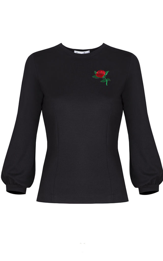 BLACK BLOUSE WITH ROSE by KASIA MICIAK