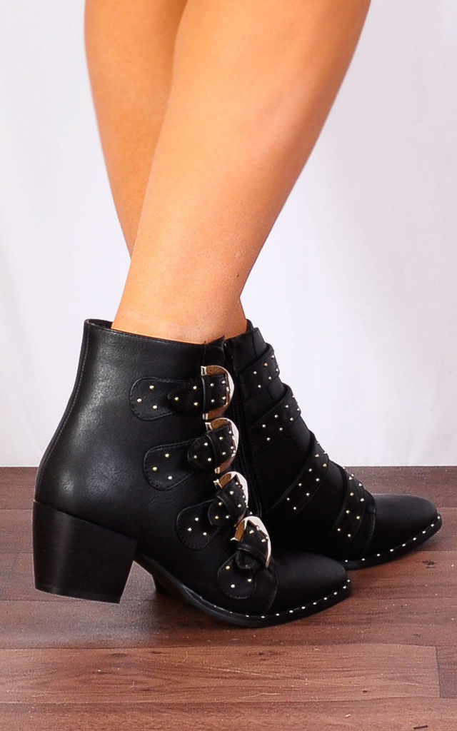 Black Pu Leather Western Buckle Pointed Low Heel Ankle Boots by Shoe Closet