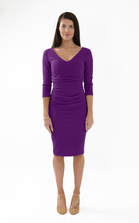 The Chloe v neck 3/4 sleeve midi dress by Off the Catwalk