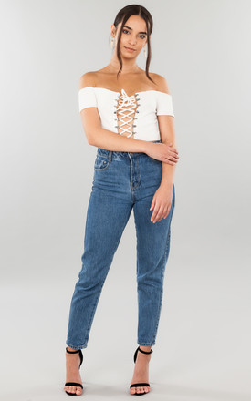 White Tie Crop Top by We Run This Product photo