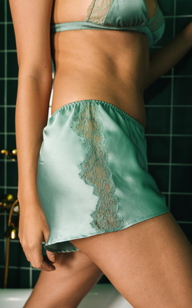 Mint Lace + Satin Shorts by Lucia Berutto Europe