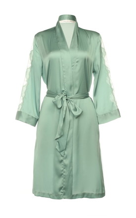 Mint Lace + Satin Kimono by Lucia Berutto Europe