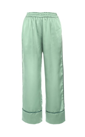 Mint Satin Wide Trousers by Lucia Berutto Europe
