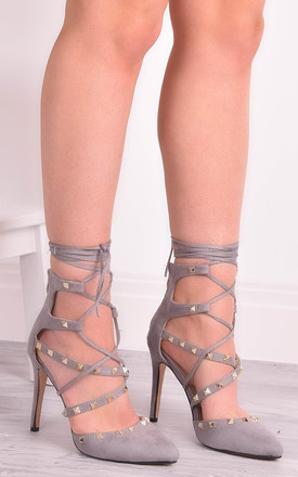 Ruby Grey Stud Lace Up Heels by Solewish