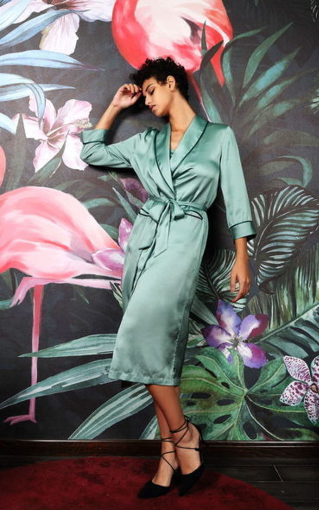 Mint Satin Long Kimono by Lucia Berutto Europe