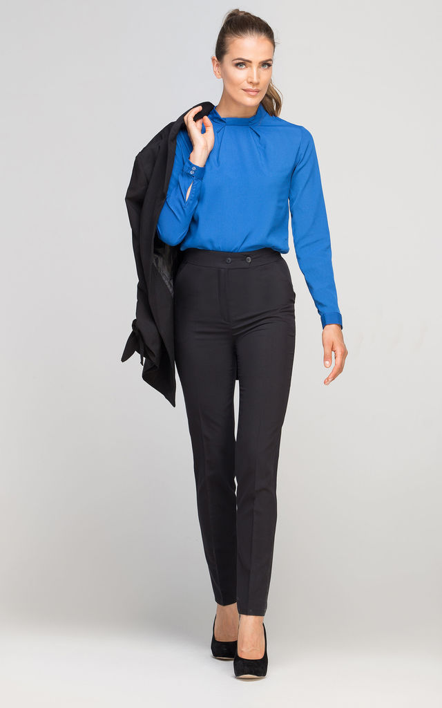 Long Sleeve Bow Blouse in Royal Blue by Lanti