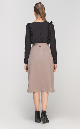Tailored Midi Skirt in Beige by Lanti