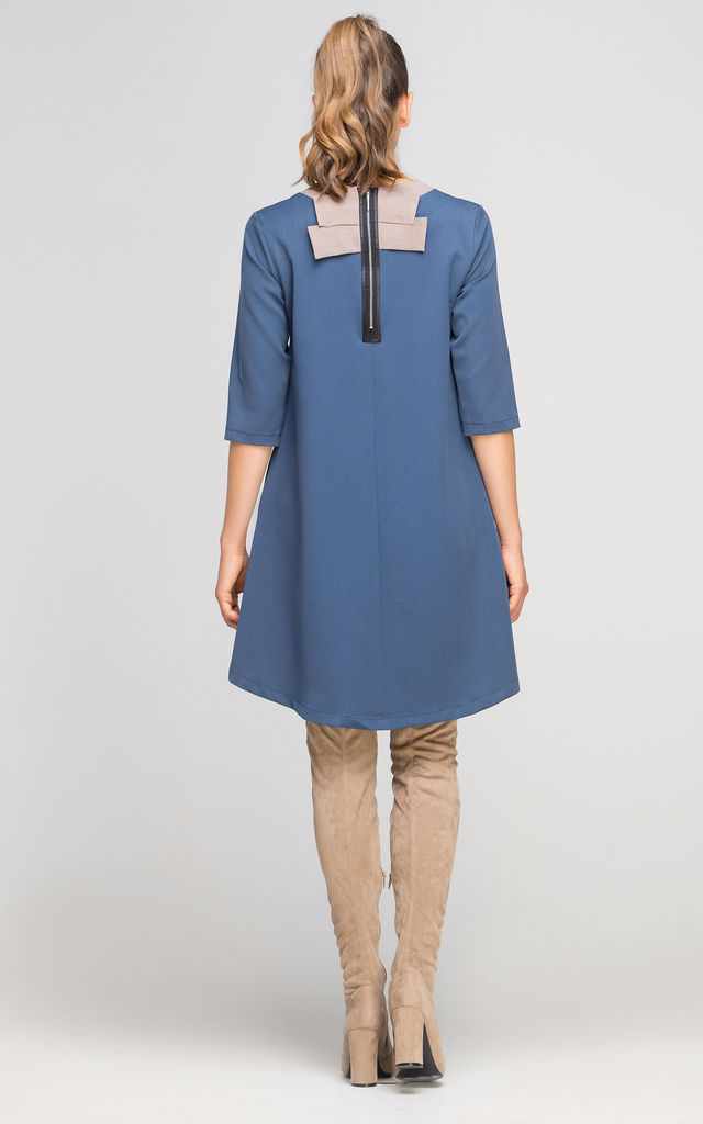 3/4 Sleeve Dress In Blue by Lanti