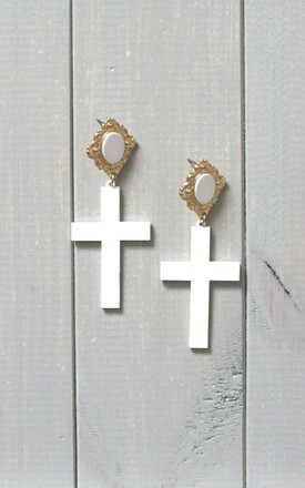 White Cross Drop Earrings by HAUS OF DECK