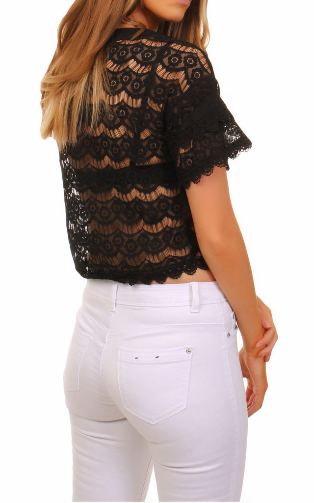 Cutie Short Flared Lace Top by Cutie London