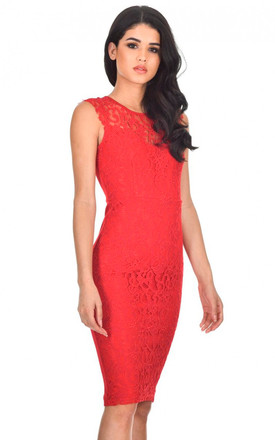RED CROCHET MIDI DRESS WITH BACK DETAIL by AX Paris