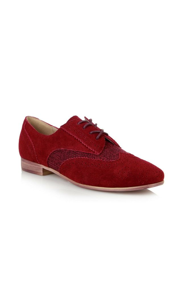 Brighton Red Herringbone Brogues Flat Shoes by Yull Shoes