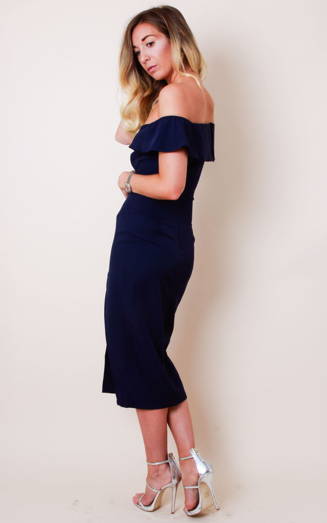 Sweetheart Off Shoulder Midi Dress - Navy by Pretty Lavish 49ccf6436