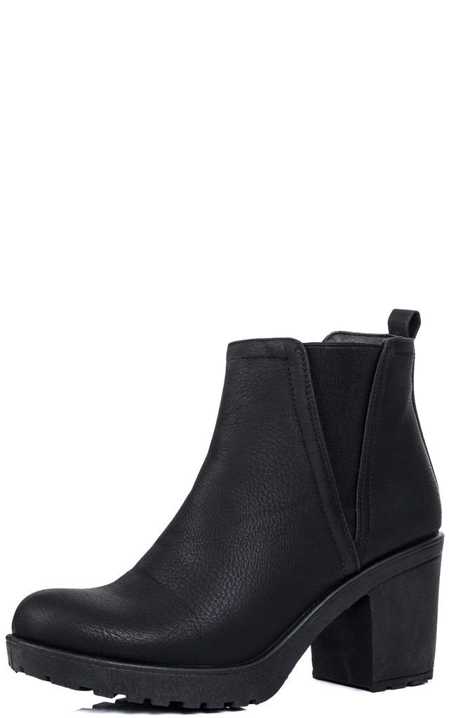 dee27fa5ba52 BRYNLEE Platform Block Heel Chelsea Ankle Boots - Black Leather Style by  SpyLoveBuy