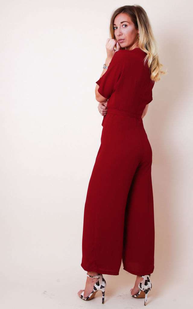 Rylie Culotte Jumpsuit - Burgundy by Pretty Lavish