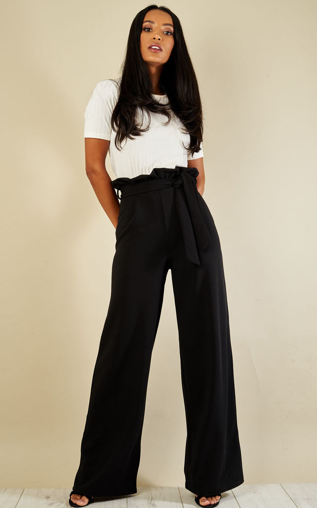 BLACK PAPERBAG WIDE LEG TROUSERS by Bella and Blue