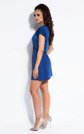 Blue Mini Wrap V-neck Dress by Dursi