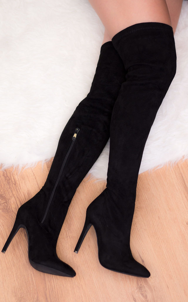DURHAM High Heel Stiletto Over Knee Tall Boots - Black Suede Style by SpyLoveBuy