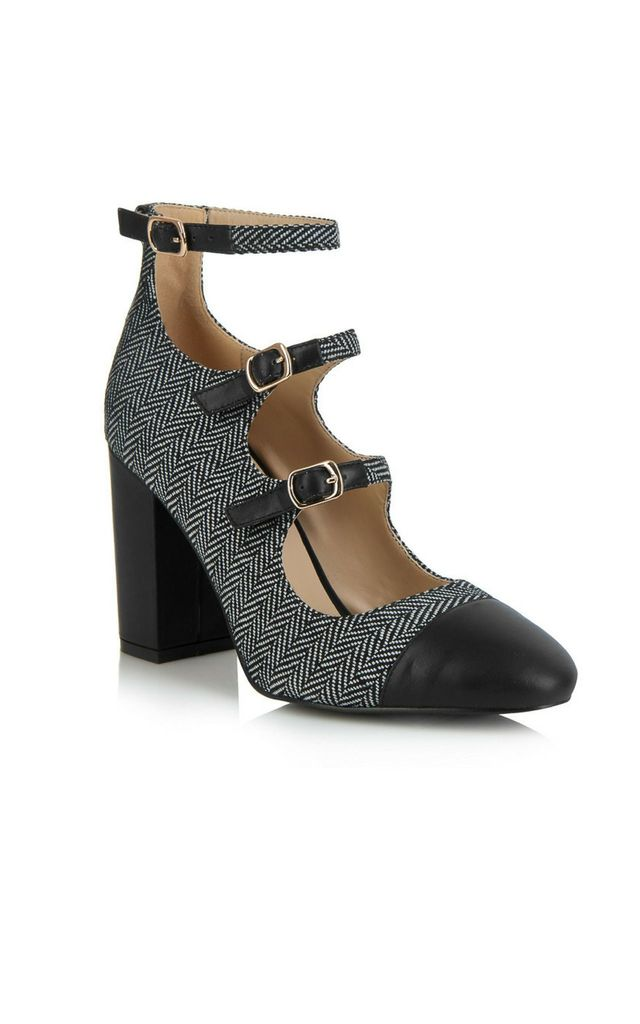Battersea Grey Buckles Block High Heels by Yull Shoes