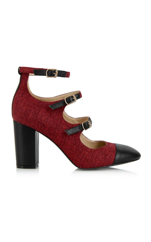 Battersea Red Buckles Block Heels by Yull Shoes