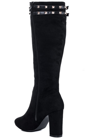 HAILIE Buckle Block Heel Knee High Boots - Black Suede Style by SpyLoveBuy