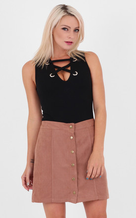 Tan  A-line Faux Suede Front Buttoned High Waist Mini Skirt by MISSTRUTH