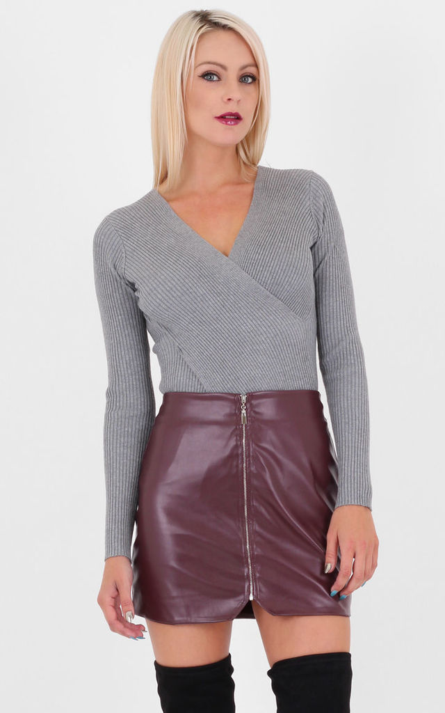 Wine Faux Leather Zip Front Midi Pencil Skirt by MISSTRUTH