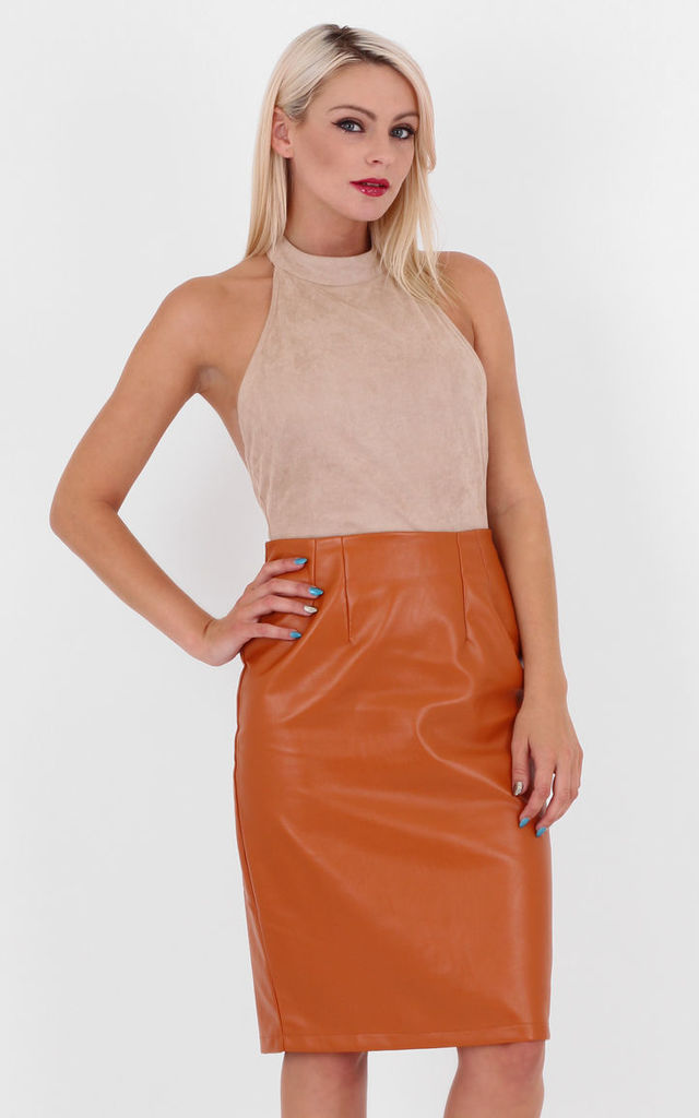 Rust Faux Leather High Waist Midi Pencil Skirt by MISSTRUTH