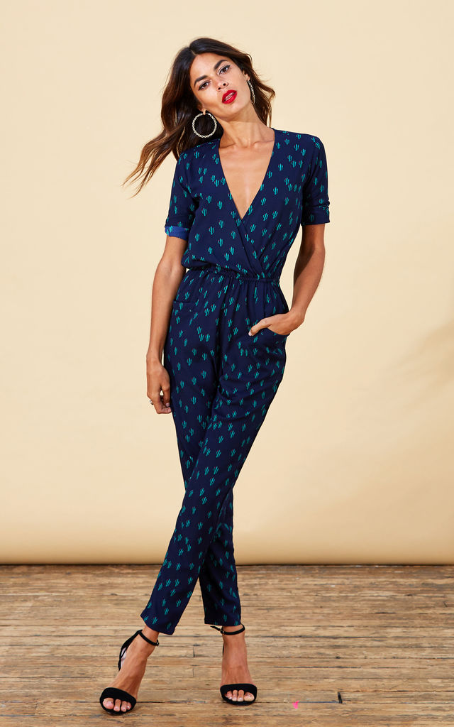 Zion Jumpsuit in Navy Cactus by Dancing Leopard
