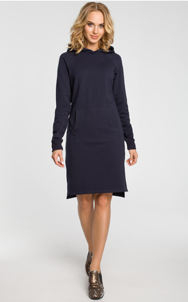 "Navy blue sporty dress with loose-fitting cut, a ""kangaroo"" pocket, long sleeves and a hoody by MOE"